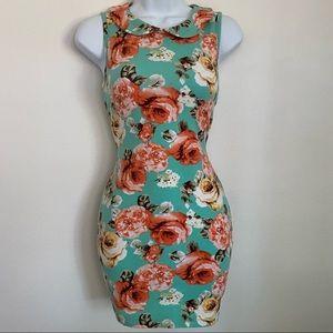 Floral collar mini dress